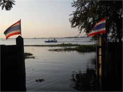 Thai flags at sunset 2